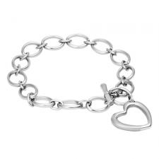 Stainless Steel Bracelet with Dangling Heart Charm