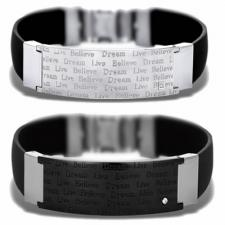 Stainless Steel And Rubber Bracelet With Inscription