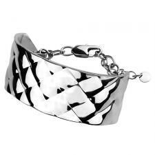 Stainless Steel Bracelet With Textured Diamond Pattern