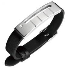 Stainless Steel And Leather Bracelet W/ Design And CZ Accent
