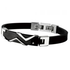 Stainless Steel And Rubber Irish Bracelet With Black PVD ID Plate