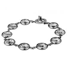 Stainless Steel Bracelet With Bezel Set Glass Stones And Toggle Clasp