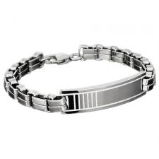 Stainless Steel Double Link ID Bracelet With Etched Design