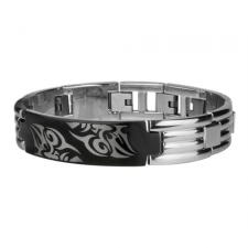 Stainless Steel Black PVD Bracelet with Tribal Face Design