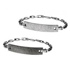 Stainless Steel Bracelet With SandBlast Textured ID Plate
