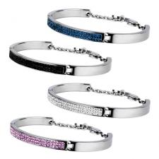 Stainless Steel Bangle With Foiled CZ Stones