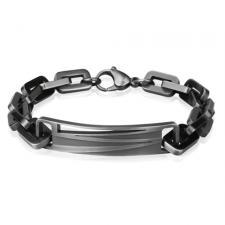 Antique Grey Stainless Steel Bracelet with Rectangular Links and Zig Zag Center Design