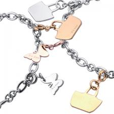 Stainless Steel, Charm, Bracelets, Gold, Rose Gold, Steel Charms.