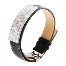 Black Leather, Stainless Steel, Sandblast Texture