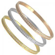 Women's Stainless Steel CZ Design Bangle