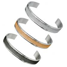 Stainless Steel Bangle with Sandblast Design