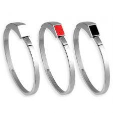 Modern Stainless Steel Bangle With Optional Enamel Accent