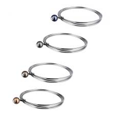 Stainless Steel 3-Piece Bangle With Faux Pearl Charm