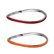Trendy Stainless Steel Bangle With Foiled CZ Stones