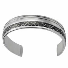 Stainless Steel Bangle With Black PVD Stripe And Swirl Design