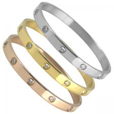 Women's Stainless Steel CZ Bangle Bracelet-6mm