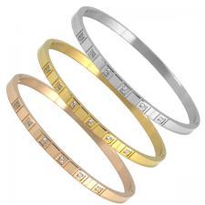 Stainless Steel Square CZ Design Bangle Bracelet