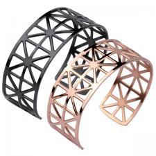Women's, Cuff, Bangle, Perforated, geometric Pattern.