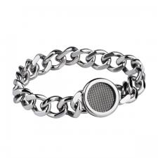 Stainless Steel Link Bracelet with Round Black Mesh