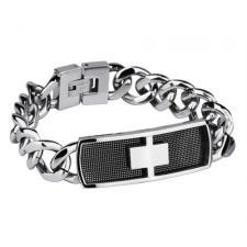 Stainless Steel Link Bracelet with Rectangular Black Mesh Inlay