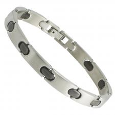 Stainless Steel Bracelet with Black Links