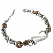 Stainless Steel Bracelet With Coffee Colored PVD Links