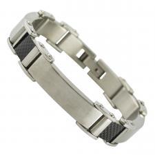 Men's Stainless Steel Carbon Fiber Bracelet
