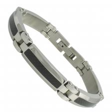 Beveled Stainless Steel Bracelet with Carbon Fiber