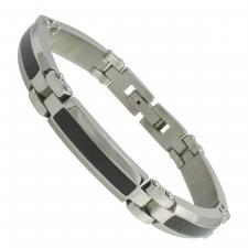 Beveled Stainless Steel Bracelet with Carbon Fiber
