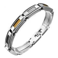 Modern Stainless Steel Bracelet w/ Alternating Steel and Gold Colored Cable Inlay