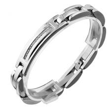 Very Elegant Stainless Steel Gentlemens Bracelet With CZ Stones