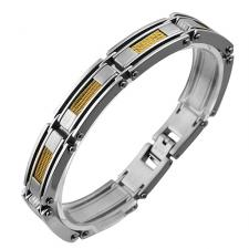 Contemporary Stainless Steel Bracelet With Four Strand Gold PVD Cable Inlay