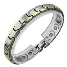 Magnetic Tungsten Bracelet w/ Gold PVD Beveled Edges.