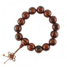 Black and Mahogany Prayer Bracelet w/ 6mm Wooden Beads