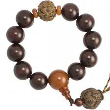 Dark Cherry Wood Beaded Mala Bracelet with Wood Lotus Pendant