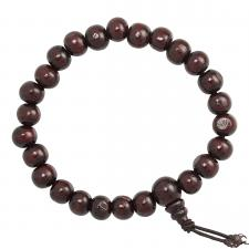 Cherry Brown Wood Mala Beaded Bracelet