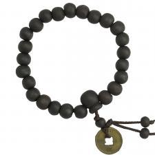Black Wood Beaded Mala Bracelet with Antique Oriental Pendant