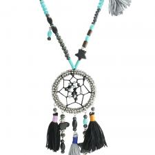 Black and Turquoise Bead Dream Catcher Necklace