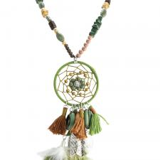 Olive Green and Brown Bead Buddha Dream Catcher Necklace