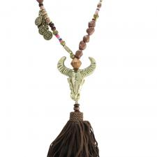 Brown Stone Bead Bull head Necklace