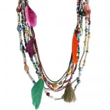 Multi-Color Jewel Bead Necklace with Mystic Feathers