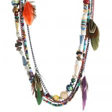 Multi-Color Bead Necklace with Mystic Feathers