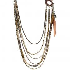 Brown Jewel Bead Small Dream Catcher Necklace