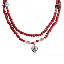 Red Bead with Stainless Steel Heart Pendant