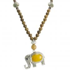 Brown Wood Beaded Necklace with Elephant Pendant