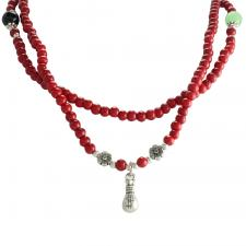 Red Wood Beaded Necklace with Money Bag Pendant