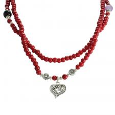 Red Wood Beaded Necklace with Heart Pendant