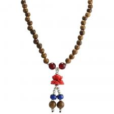 Brown Wood Bead with Rose