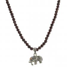 Cherry Brown Ceramic Beaded Necklace with Rhinestone Elephant