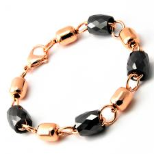 RoseGold PVD Bracelet with Black Diamond Cut Beads